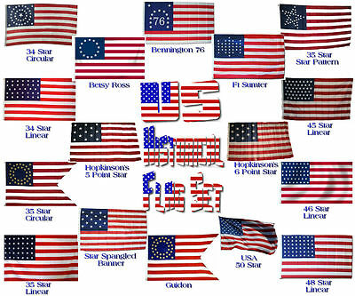 3x5 ft Wholesale Lot of USA US American American Historical Set Flags Flag 3'x5'