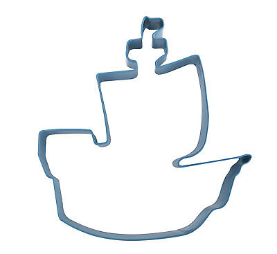 Eddingtons Blue Pirate Ship Cookie Cutter - Pastry Pirates Cutter Metal 9cm