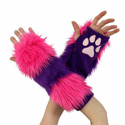 PAWSTAR Cheshire CAT Paw Arm Warmers - Fingerless Gloves Pink Purple [CLA]3150