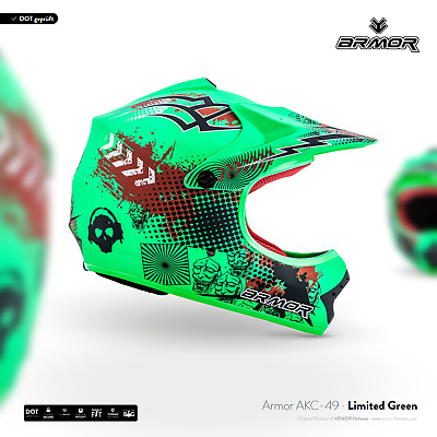 ARMOR AKC-49 Neon Green Kids Cross-Helm Kinder-Helm Pocket-Bike Moto XS S M L XL