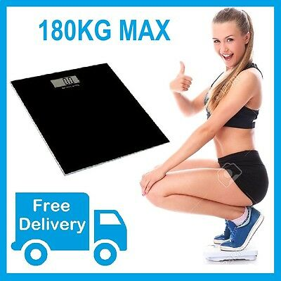 Free Postage New Electronic Digital Glass Body Bathroom Scale Weight 180KG