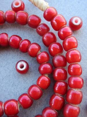 African Red 'White Heart' Beads  [63841]