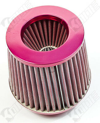 "Universal 3"" RED CAR AIR FILTER INDUCTION KIT HIGH POWER SPORTS MESH CONE"