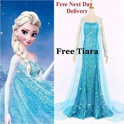Frozen Elsa Fancy Dress Costume Gown Adult all sizes Blue  add  wig and save 10%