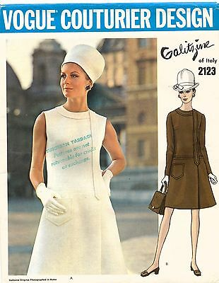 1960's VTG VOGUE COUTURIER DESIGN Dress Irene Galitzine  Pattern 2123 12 UNCUT