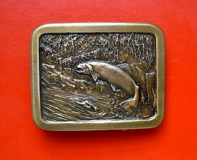 1977 Vintage Trout Brass  Belt Buckle