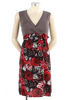 New JAPANESE WEEKEND MATERNITY Colorblock Art Deco Roses Surplice Cotton Dress