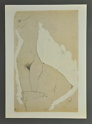 Egon Schiele Lichtdruck Collotype 36x50 Signed Weiblicher Torso Female 1911 Nus