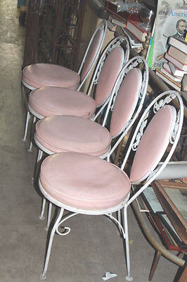 Set of 4 antique ice cream store ornate  shape metal chairs
