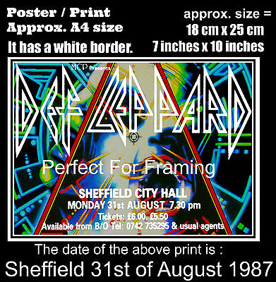 Def Leppard live concert Sheffield City Hall 31 August 1987 A4 size poster print