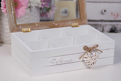 Shabby Chic Wooden White Tea BOX 6 COMPARTMENTS Glass Lid HOME