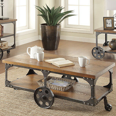 Rustic Coffee Table Industrial Cart Cocktail Storage Living Room Furniture  New