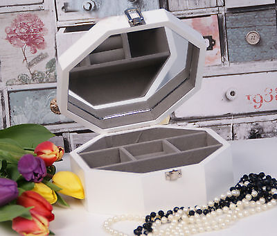 Wooden New Jewellery Box Display With Mirror White Perfect Gift #32