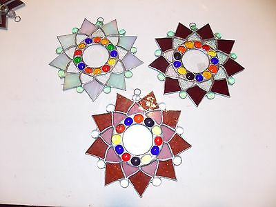 Lot of three - Leaded Stained Glass  Sun Catcher  Flower Hanging  #10