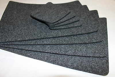GREY Placemats & Coaster Simple Shape Rectangle Felt Table Mats Set of 16 pieces