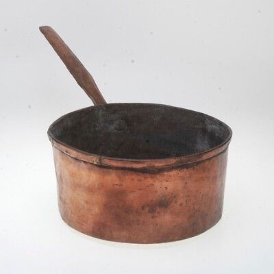 Antique Rustic Hand-Hammered Large Copper Sauce Pot With Handle
