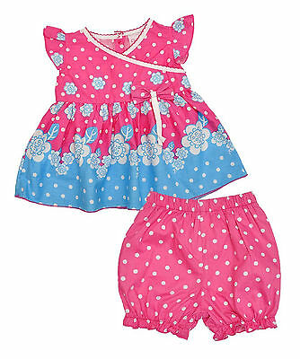 Girls Baby 2 Pce Pink & Blue Floral Dress & Nappy Shorts Set Newborn - 9 Months