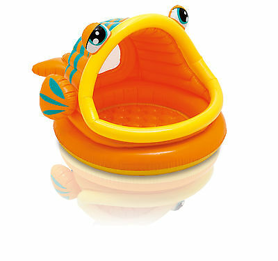 Intex Sun & Shade Inflatable Lazy Fish Baby Swimming Splash Pool | 57109EP