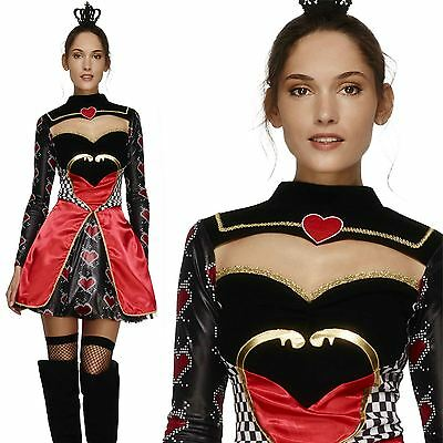 Adult Queen of Hearts Costume Sexy Fever Fancy Dress Ladies Fairytale Outfit