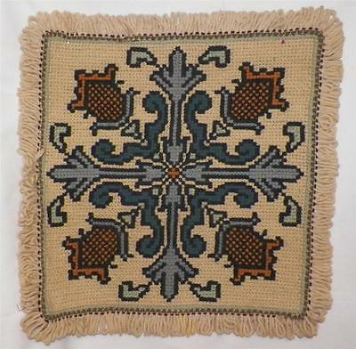 Needlepoint Pillow Cover Medieval Flowers Blue Gold Black Tan Burlap Back Large