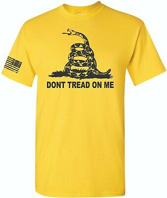 Don't Tread On Me Gadsden American Flag Conservative T-Shirt Yellow Dont