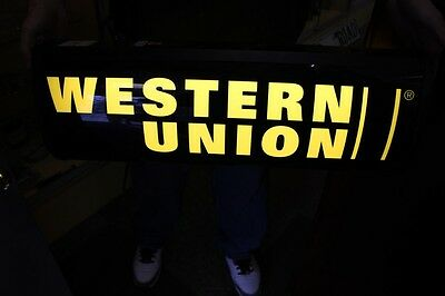 Western Union Double Sided Lighted Sign 25'' x 9'' x 6''
