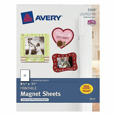 Avery Ink Jet Magnet Sheets Matte White 8-1/2-Inch by 11-Inch 3-Pack