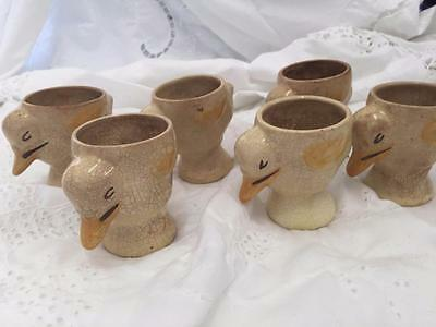 6 x Vintage Ceramic Duck Egg Cups / Made in England