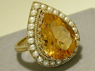 C864 HUGE Genuine 9ct Solid Gold NATURAL Citrine & Pearl Ring made in your size