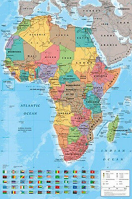 "Map Of Africa POSTER ""Large Wall Chart, With Flags"" BRAND NEW Licensed Art"