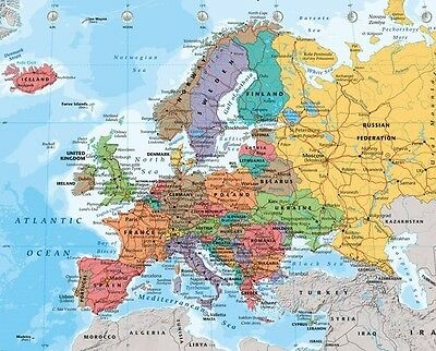 MAP Of Europe (LAMINATED) POSTER (40x50cm) Educational Travel Tool New Licensed