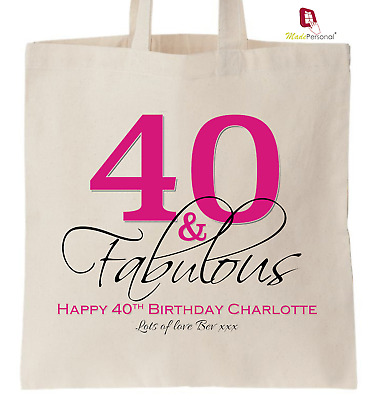 PERSONALISED 40th Birthday Gift Cotton Tote Bag 40 Fabulous