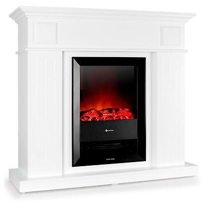 Electric Fire Place 2000W Heater Built In Fan Vintage Design White Living Room