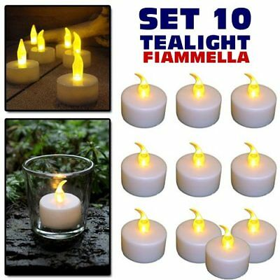 Set 10 Candele Lanterne Tealight Tea Light Elettriche LED Batteria Decorazione