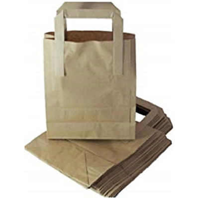 * Brown Paper Tape Handle Carrier Bags SOS Take Away All Sizes Small Medium