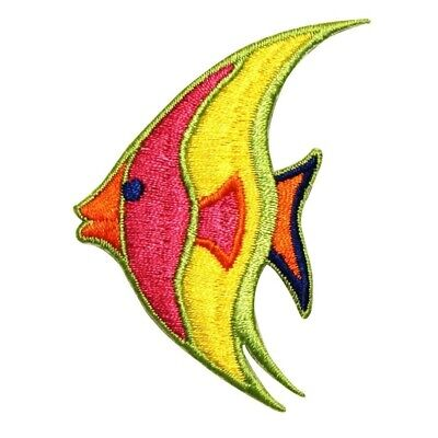ID 0181 Tropical Angelfish Patch Ocean Swimming Embroidered Iron On Applique