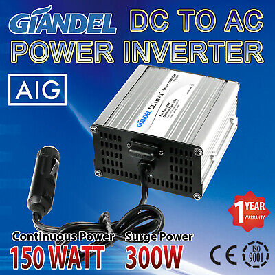 Power Inverter 150W / 300W DC 12V to AC 240V With Car Plug Cable Caravan Camping