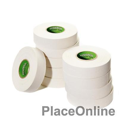 "Renfrew WHITE Ice Hockey Tape 10 Rolls of 1"" X 25 Yards NHL Grade Stick Blade"