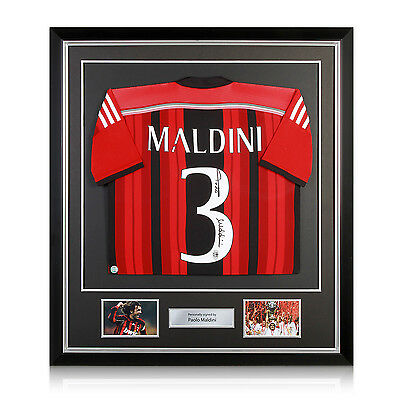 Paolo Maldini Signed AC Milan Soccer Jersey In Deluxe Black Frame