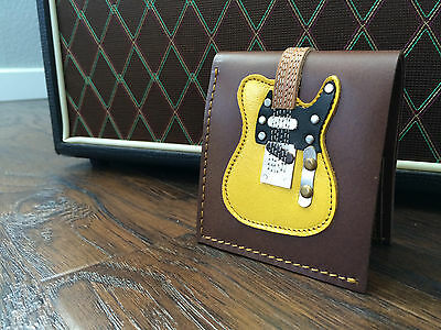 Keith Richards Handmade Leather Mens Blonde Guitar Wallet w/ Guitar Pick Holder