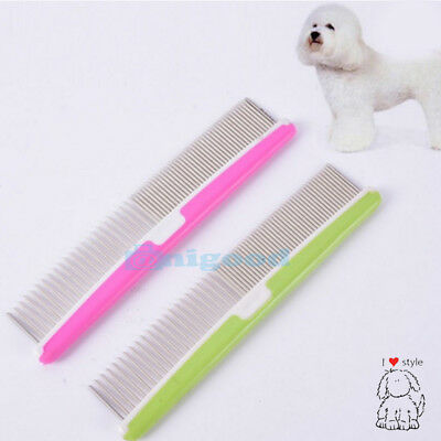 Pet Dog Cat Metal Double Row Teeth Brush Grooming Hair Comb Rake Tool UK Seller