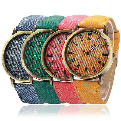 Men's Women's Casual Fabric Band Numerals Dial Analog Quartz Wrist Watch Angelic