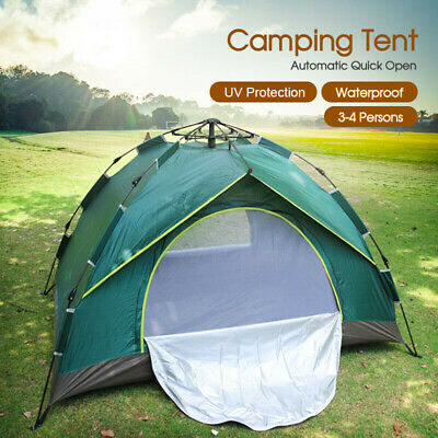 Double Layer Instant Auto Pop Up Camping Tent 4 Person Shelter Au Post