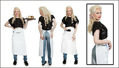 Quality Long White Bistro Apron w/Organizing Extra Pockets Proudly Made in USA