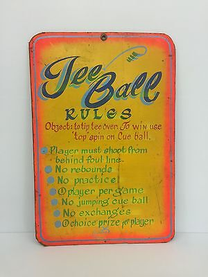 Vintage Antique Hand Painted Carnival Sign 24in X 36in Tee Ball Rules