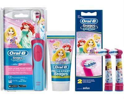 Braun Oral-B Stages Power Akku Zahnbürste D12.513.K Set 2 Prinzessin Princess