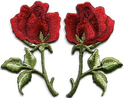 Deep red roses pair flowers floral retro boho applique iron-on patches S542