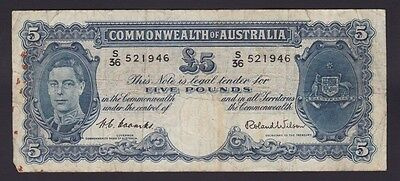 Five Pounds Pound Paper Banknote Commonwealth of Australia Coombs Wilson B-785