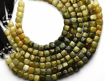 "Natural Gem Chrysoberyl Facet 8MM Approx. Cube Shape Beads 8.5"" Strand"
