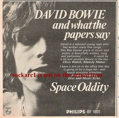 DAVID BOWIE Space Oddity - what papers say 1969 UK Press ADVERT 7x7 inches
